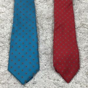 Christian Dior ties (2) silk red & blue